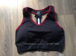Спортивный топ женский mpg черный с красной оборкой