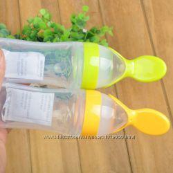 Силиконовая бутылочка с ложечкой ложкой и носиком для кормления