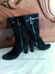 Сапожки, чоботи жіночі, чорні, замша натуральна