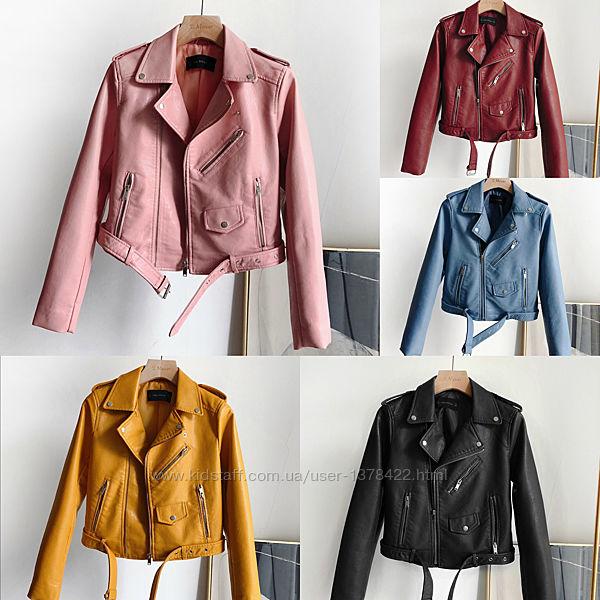 Женская куртка косуха из кожзама черная, розовая, бордовая, желтая