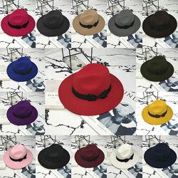 Шляпа женская фетровая Федора с устойчивыми полями и бантиком