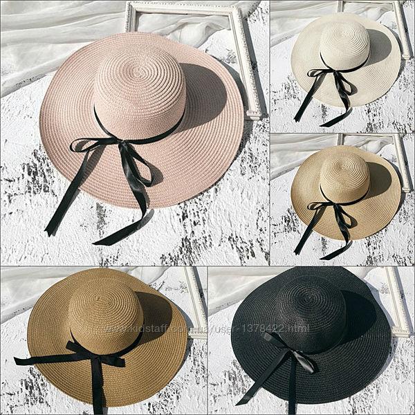 Шляпа женская летняя с широкими полями и лентой
