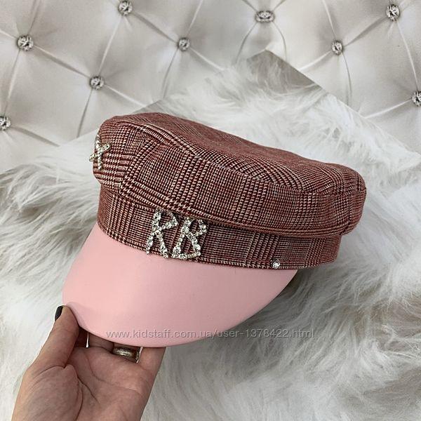 Женский картуз, кепи, фуражка с лаковым козырьком RB со стразами розовый