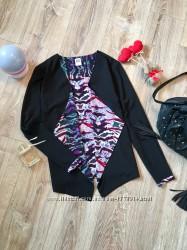 Легкий, ассиметричный пиджак накидка с яркой внутренней подкладкой от Vero