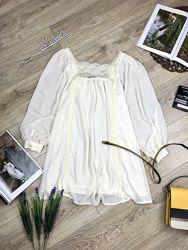 Topshop красивая невесомая блуза с элементами кружева цвета Шампань