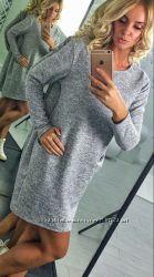 свободное платье, свитер-платье, платье с карманами, короткое платье, серое