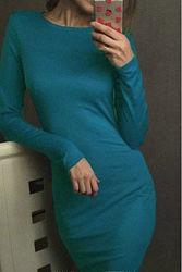 женское трикотажное платье миди цвет бирюза с длинным рукавом