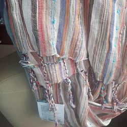 женский полосатый шарф палантин, нарядный платок с люрексом