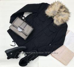 Парка джинсовая H&M HM женская демисезонная весенняя куртка чёрная