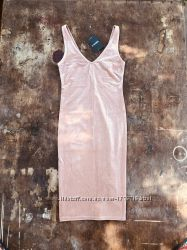 Платье велюровое нюдовое Forever 21 женское в обтяжку летнее