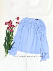 Блуза Mango прозрачная летняя нежная лиловая голубая легкая кружевная