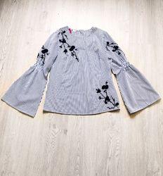 Блуза женская фирменная хлопковая рубашка в полоску белая синяя с цветами