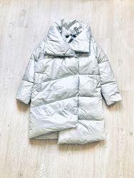 Пальто зимнее mohito мохито фирменное серебристое стильное оверсайз дутое