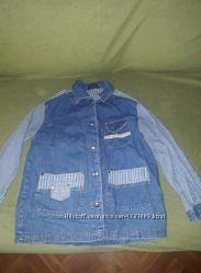 Рубашка джинсовая. рост 128. Рубашка унисекс, отличное качество