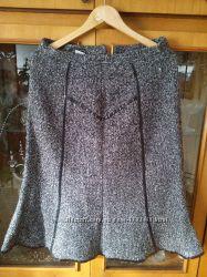 Шерстяная юбка-гаде серая теплая 48 размер