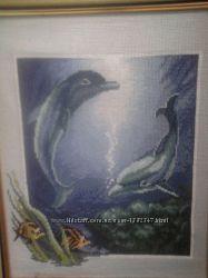 Вышитая картина Дельфины
