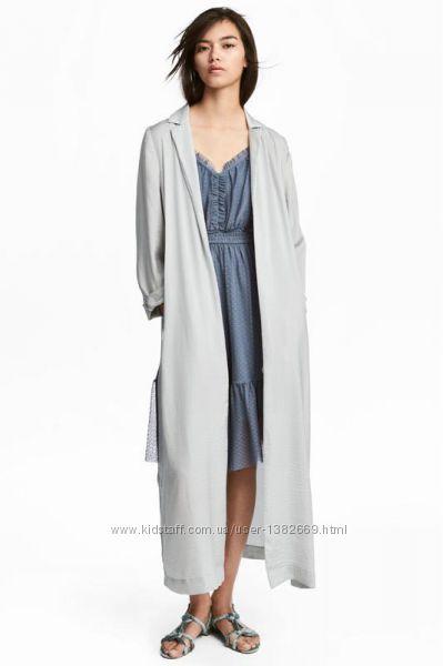 Длинное атласное пальто h&m р-р 3234