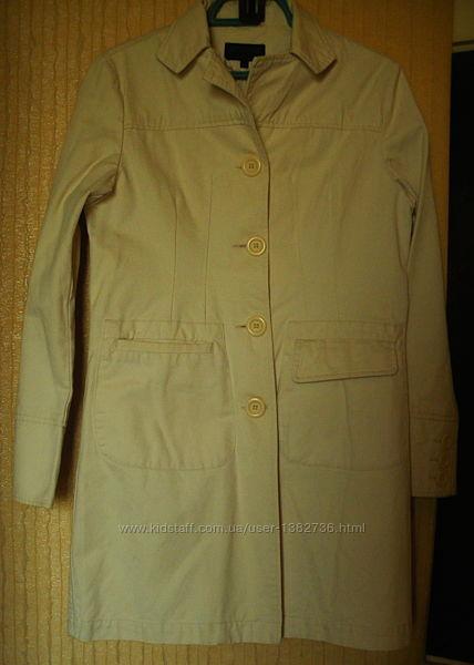 Пальто alwear жакет пиджак  тренч светло кремовый хлопок р.10