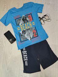 Летний костюм для мальчика шорты футболка Beach.  Размеры от 7 до 11 лет.