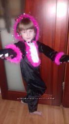 Карнавальный костюм платье Пантера -черная кошка. Размер 110-116. 130 98-104