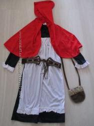 Платье маскарадное карнавальное для Красной шапочки на 6 - 7 лет
