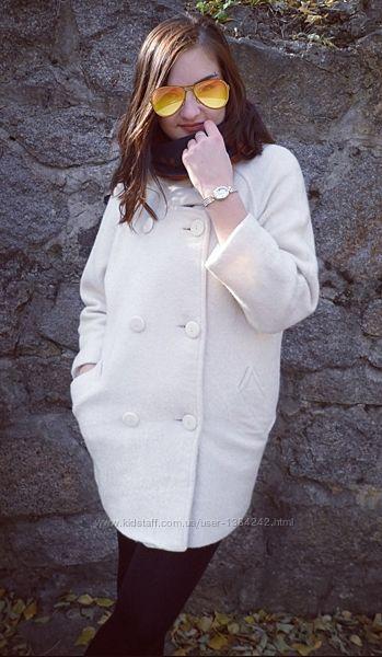 Дизайнерское двубортное шерстяное пальто полупальто кокон айвори PAIGE.