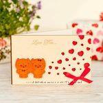 Открытка -Валентинка  с деревянной обложкой