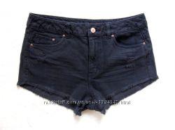 Крутые джинсовые шорты c высокой талией и бахромой H&M, 38 размер.