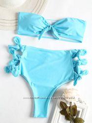 Купальник с высокой талией Амара, голубого цвета, бразильяна, бандо, на завязка