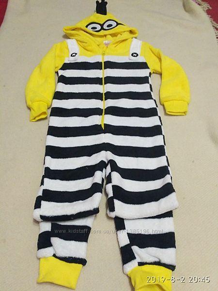 Пижама слип человечек тёплая вельсофт