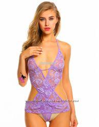 Потрясающий яркий фиолетовый сиреневый кружевной пеньюартеддик