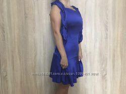Шелковое синее мини платье электрик