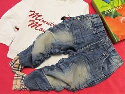 Стильные джинсы на манжете с потертостями 1, 5-3 года
