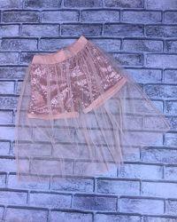 Нарядная фатиновая юбка шорты для девочки. 128-164р.