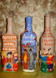 Декор бутылок , ручная работа