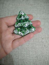 Брошь брошка из бисера елка елочка ялинка новый год новогодний Ручная Работ