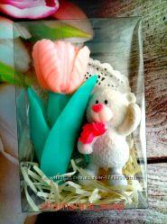 Подарочный набор мыла  Тюльпан и мишка
