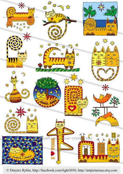 Раскраска позитивных котов 1. Для детей и взрослых ...