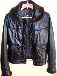 Кожаная утепленая куртка