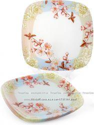 Набор 6 стеклянных тарелок Цветущая вишня 30х30см, подставные тарелки