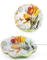 Набор 6 стеклянных тарелок Букет тюльпанов &Oslash20см, десертные тарелки