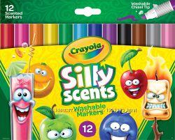 Смываемые фломастеры с запахом  Crayola Silly Scents Washable Markers 12 шт