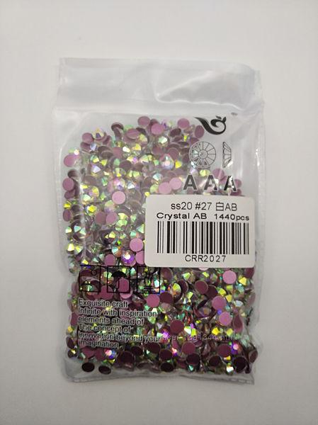 Стразы Crystal AB, ss20 розовая подложка, холодной фиксации, 1440 шт.