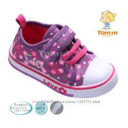 Кеды Том М 1503В сиреневый цветок, розовые шнурки
