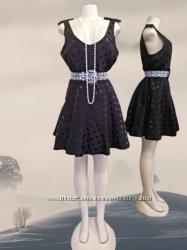 Шикарное новое черное расклешенное платье Papaya в блестящий атласный горох