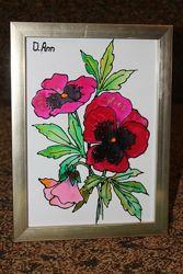 Картина Рисунок витражом по стеклу в рамке А5 15 х 21 см