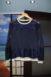 Кофта легкая синяя ажурная гипюр нарядная брендовая новая S