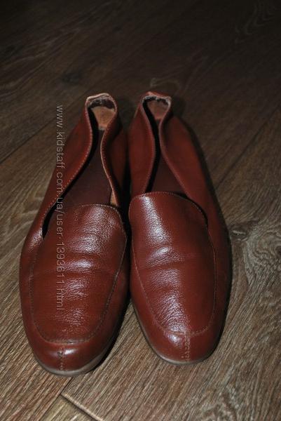 коричневые туфли кожаные натуральная кожа мягкие удобные 24 см
