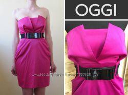 Малиновое платье OGGI бюстье без бретелей под пояс низ тюльпан