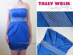 Синее голубое платье Tally Weijl бюстье приталенное в обтяжку по фигуре
